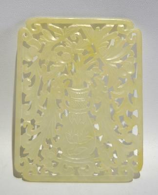 Large Antique Chinese Hand-carved Fine Jade Tile, Circa 1920's