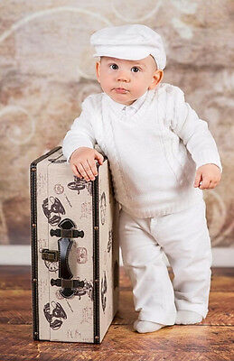 Baby Boy Christening Baptism Formal Smart Suit Outfit Jumper Wedding White 0-18M