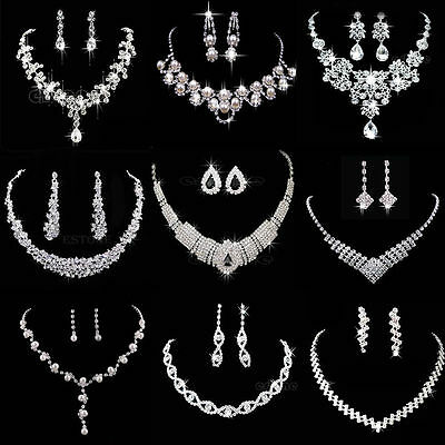 Hot Prom Wedding Bridal Silver Jewelry Rhinestone Necklace Crystal  Earring Set