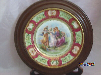 Austrian Artist Signed Hand Painted Plate with Frame