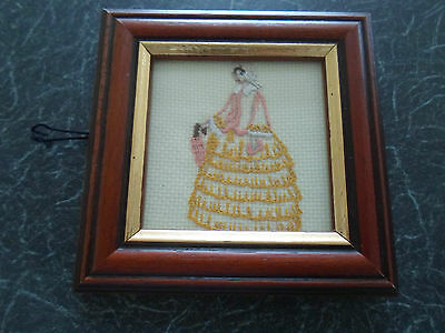 Gorgeous Small Crinoline Lady Embroidery ~ Framed Behind Glass Wall Hanging