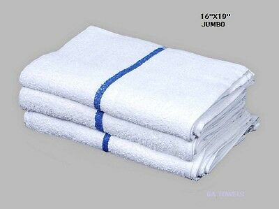 60 terry cloth jumbo blue stripe cleaning janitorial towels shop bar rags 16x19