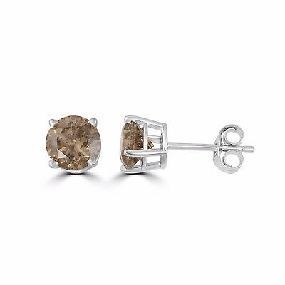 3/4ct TDW Champagne Brown Round Diamond Stud Earrings Sterling Silver(I2-I3)