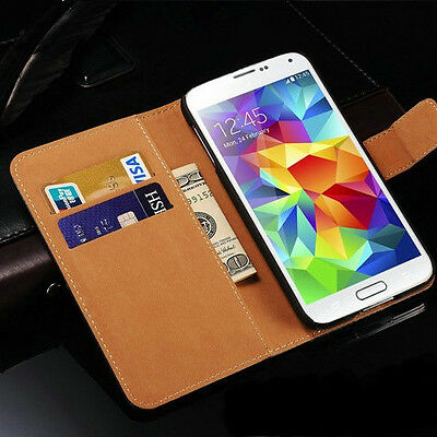 Genuine Real Leather Wallet Case For Various Samsung Galaxy Models