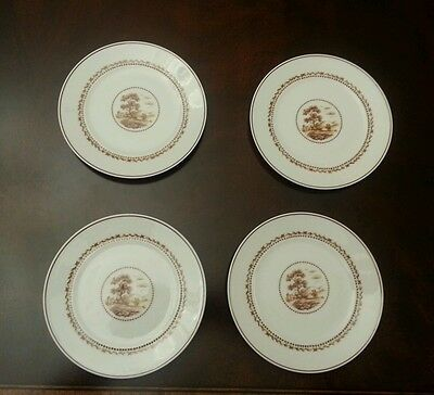 Set of 4 Block Chateau Pastoral white brown and butter plates