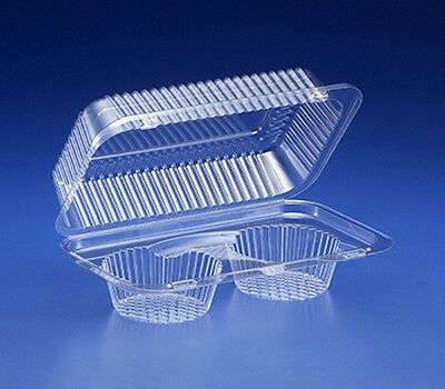 2-Cup Compartment Clear Plastic Large Muffin Cupcake Bakery Container REF# SLP52