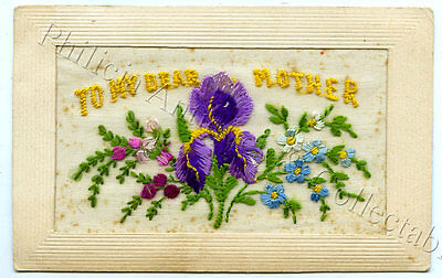Ww1 1917 Silk Patriotic Postcard Sent By Aif Soldier From France Q5