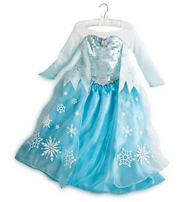 NEW Disney Store Frozen Elsa Deluxe Edition Blue Costume Dress Sz 10 Yrs.  Sc 1 St PicClick f090fde56