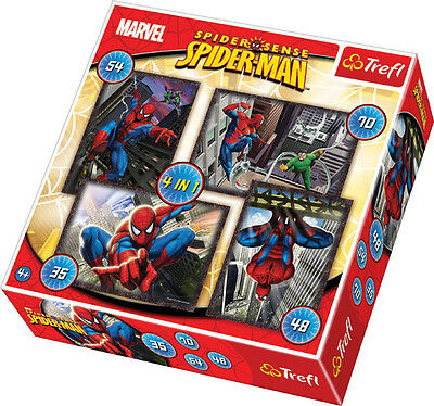 Puzzle Pappe Trefl 4 in 1 35 + 48 + 54 + 70 Teile Spiderman 34120