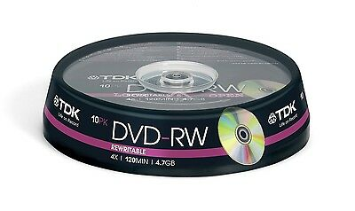 TDK DVD-RW 4.7GB 4x Speed 120min Rewritable/Recordable DVD Discs Spindle Pack 10