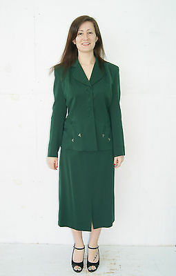 Gorgeous Vintage Vtg 1930's 40's Green Wool Art Deco Skirt Suit Outfit Size 6