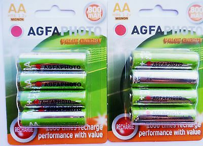 8 x AA SOLAR GARDEN LIGHT AGFA  RECHARGEABLE BATTERIES 1.2v 800mAh