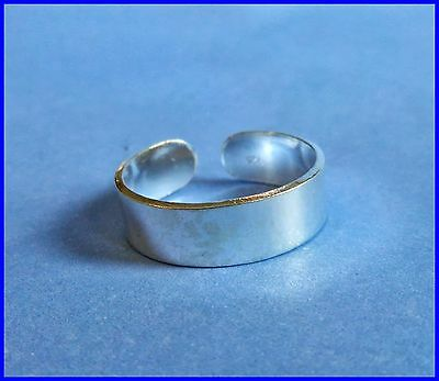 Sterling Silver (925) Adjustable Solid Band Toe Ring  4  mm  !!     Brand New !!