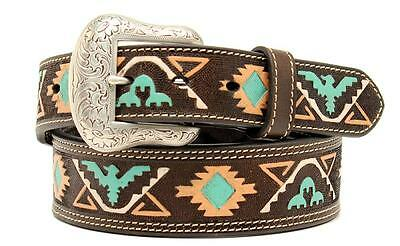 Nocona Western Mens Belt Leather Tapered Tooled Tribal Brown N2410302