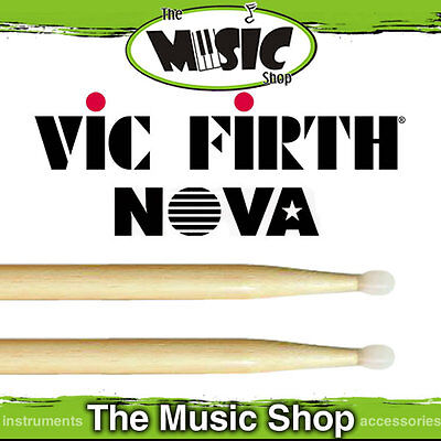 3 Pairs of Vic Firth Nova 5A Drumsticks with Nylon Tip - Natural Drum Sticks