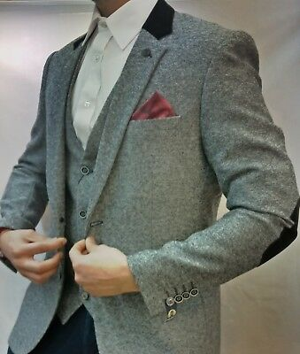 Mens Marc Darcy Designer Grey Tweed Herringbone Three (3) Piece Suit