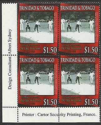 TRINIDAD & TOBAGO 2011 Dr Eric Williams Centenary CRICKET Left Corner BLOCK MNH