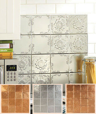 "16 pc Set Embossed 6"" Tin Tiles IN HAND Silver Copper Self Adhesive Backsplash"