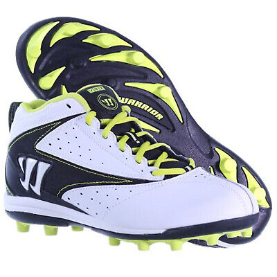 Warrior Vex Lacrosse Mid Height Molded Cleats White Black Yellow Junior 5