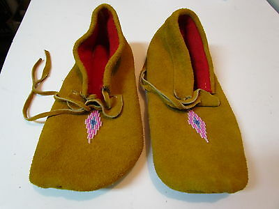 Native American Moccasins, 9 Inches Long, Handmade With Pink Beading