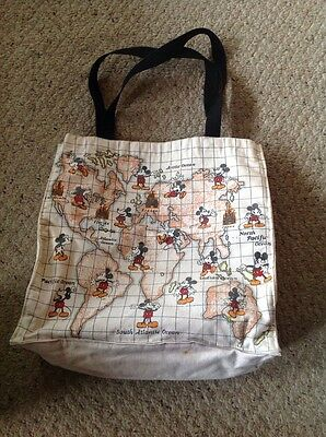 Pre Owned Vintage Disney Mickey Mouse Canvas Tote, Lined With Plastic. 13x13x5