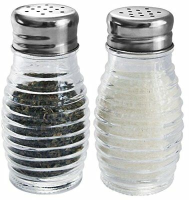 Beehive Glass Salt Pepper Shakers Stainless Steel Tops 2 Set Dining Kitchen Gift