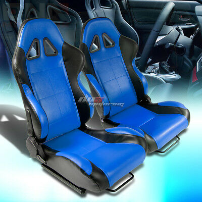 2X Universal Fully Reclinable Pvc Leather Lightweight Racing Seats Black/blue