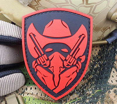 Masked Cowboy Gunfighter Tactical Army Morale Airsoft 3D Pvc  Patch