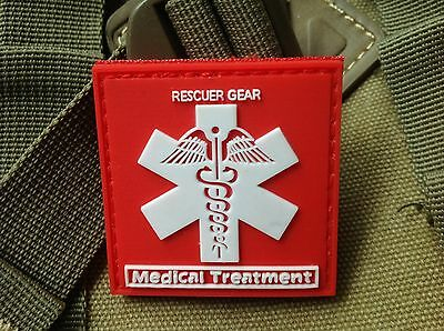 Red Rescuer Gear Medical Treatment 3D Tactical Army Pvc Rubber Patch