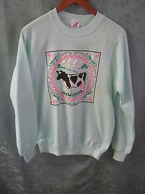 80's Jerzees Sweatshirt Size Medium NWOT Cow Print
