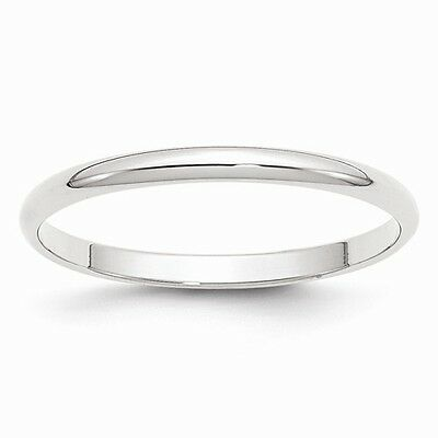 10K Solid White Gold 2mm Plain Men's and Women's Wedding Band Ring Sizes 4-14