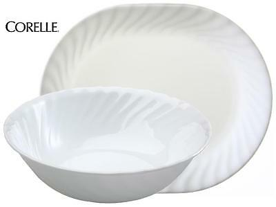 Corelle ENHANCEMENT Choice of: 1-Qt SERVING BOWL or PLATTER *White Swirl Rim NEW