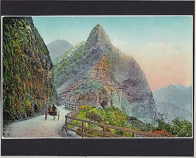"""Pali Road 1890's Hand Colored To Giclee On 8X10"""" Backing Board Mounted Photo"""