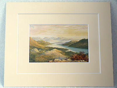 Windermere Looking Up The Lake Very Rare Antique Double Mounted  Print 1880