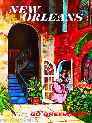 New Orleans Louisiana Bus Vintage United States Travel Advertisement Poster