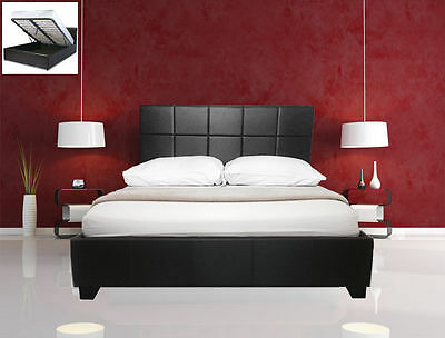 Sesia Storage Ottoman Gas Lift Double/King Size Faux Leather Bed+Memory Mattress
