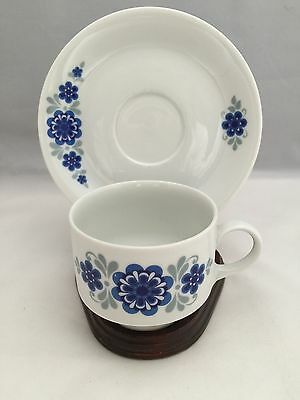 Vintage Mitterteich Bavaria Retro Blue Flower Tea Cup and Saucer