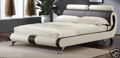 Savio Italian Designer Double & King Size Faux Leather Bed-Black & White OR Red