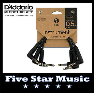 """D'ADDARIO PLANET WAVES CLASSIC PATCH CABLES 3 x 6"""" PW-CGTP-305 LEAD NEW SIX INCH"""