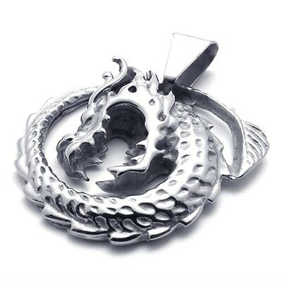 Silver Tone 316L Stainless Steel Dragon Men Pendant Necklace