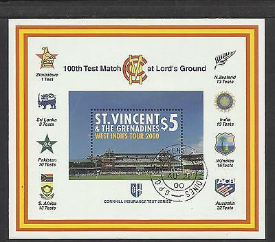ST VINCENT 2000 LORD'S CRICKET 100th CENTENARY TEST MATCH Souv Sheet USED