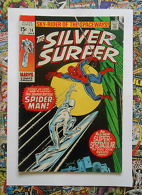 Silver Surfer #14 - Mar 1970 - Spider-Man Appearance! - Vfn- (7.5) Cents Copy!!
