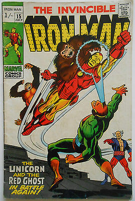 Iron Man #15 - Jul 1969 - Unicorn & Red Ghost Appearance! - Fn- (5.5)