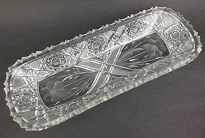 American Brilliant Cut Glass Celery Relish Dish ABP Antique Unsigned