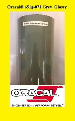 "24"" x 10 FT Roll Grey Glossy Oracal 651  Vinyl Adhesive Cutter Plotter Sign 071"