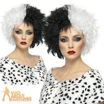 Evil Madame Cruella Wig Black & White Ladies Fancy Dress Costume Accessory