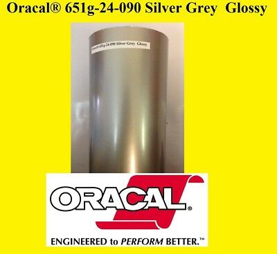 "24"" x 10 FT Roll Silver Grey Glossy Oracal 651 Adhesive Cutter Plotter Sign 090"