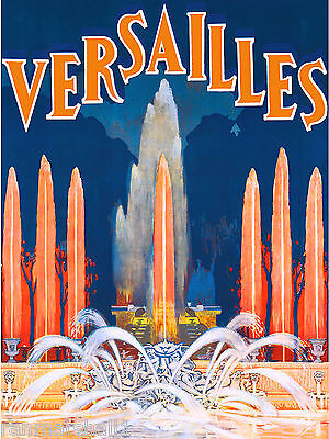 Versailles France Fountain French Europe Vintage Travel Art Poster Advertisement