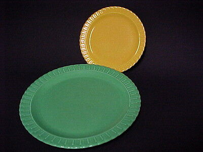 """Vintage Vistosa Green Dinner & Yellow 6"""" Plates  /  T S & T Co"""