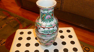 """New Vintage Made in China Porcelain Vase, stamped """"YT"""" decorated in Hong Kong."""